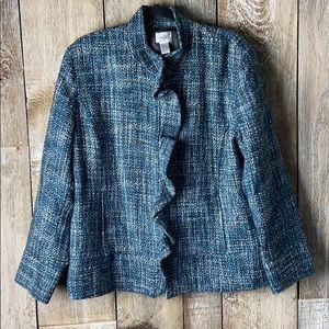 Chicos (3) Shades of Blue Tweed Ruffle Blazer XL
